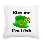 Kiss Me I'm Irish Hat Square Canvas Pillow