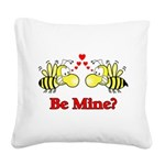 Be Mine Bees Square Canvas Pillow