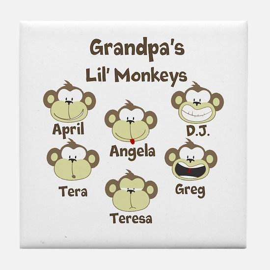 Grand kids monkeys Tile Coaster