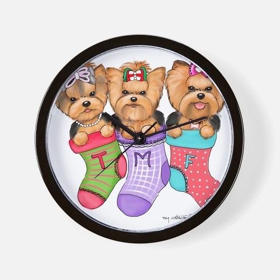 Christmas pups Wall Clock