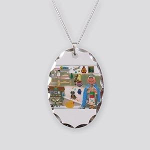 Mr. Pumpkin Depot Loves the Movies. Necklace Oval