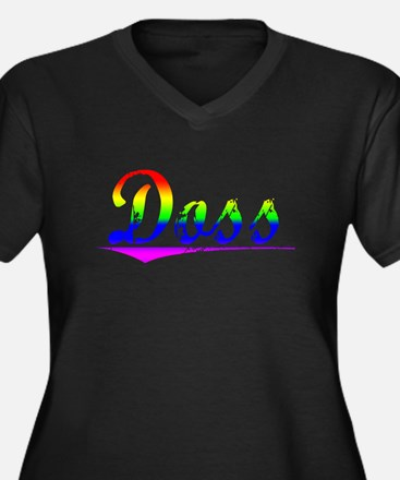 Doss, Rainbow, Women's Plus Size V-Neck Dark T-Shi