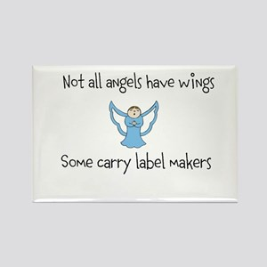 Angels with label makers Rectangle Magnet