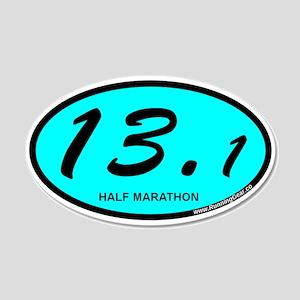 Half Marathon 13.1 aqua 20x12 Oval Wall Decal