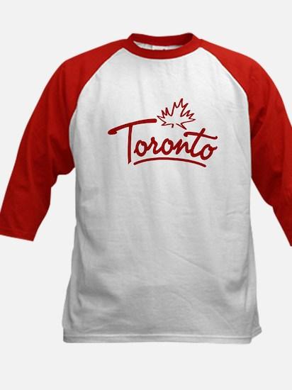 Toronto Leaf Script Kids Baseball Jersey