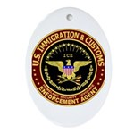 IMMIGRATION and CUSTOMS ICE: Oval Ornament