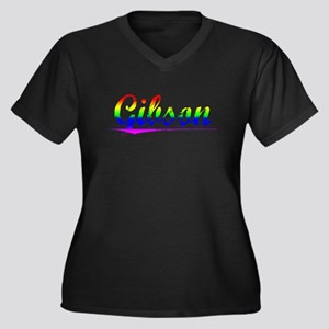 Gibson, Rainbow, Women's Plus Size V-Neck Dark T-S