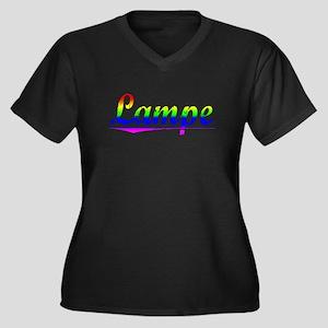 Lampe, Rainbow, Women's Plus Size V-Neck Dark T-Sh