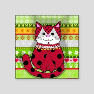 "Ladybug Cat Square Sticker 3"" x 3"""