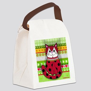 Ladybug Cat Canvas Lunch Bag
