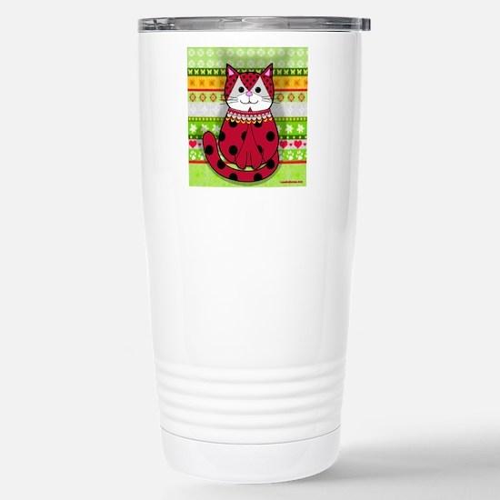Ladybug Cat Stainless Steel Travel Mug