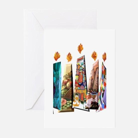 fabric menorah 3 Greeting Cards