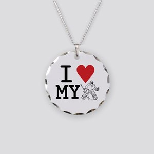 I Love My Goalie (hockey) Necklace Circle Charm