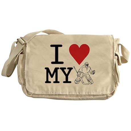 I Love My Goalie (hockey) Messenger Bag