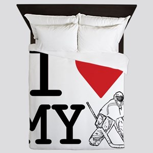 I Love My Goalie (hockey) Queen Duvet