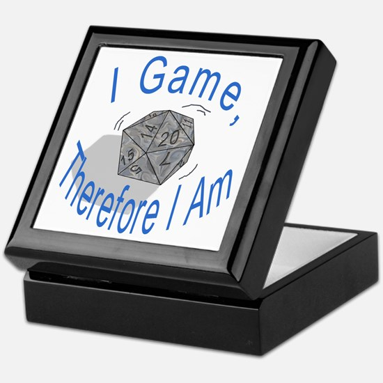 d20 I Game therfore I am Keepsake Box