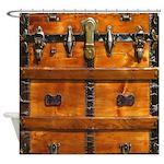 Vintage Wood Trunk Steampunk Shower Curtain