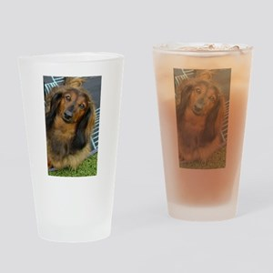Dachshund Long Haired Drinking Glass