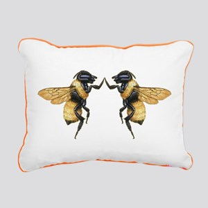 Dancing Bees Rectangular Canvas Pillow