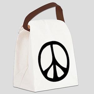 IrregularPeaceSignBW Canvas Lunch Bag