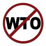 3-No WTO Round Car Magnet