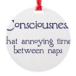 Consciousness-Naps Round Ornament