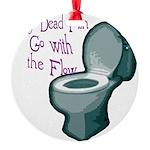 dead fish toilet flow Round Ornament