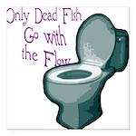 dead fish toilet flow Square Car Magnet 3