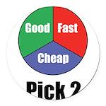 Good Fast Cheap Round Car Magnet