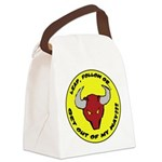 Lead Follow OR -- round large Canvas Lunch Bag