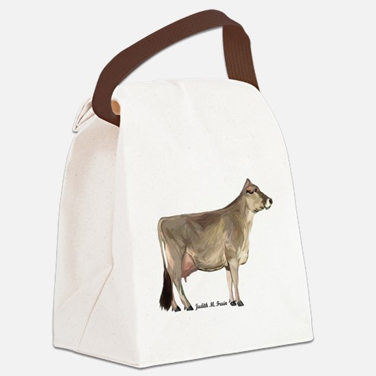 Brown Swiss Cow Canvas Lunch Bag