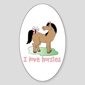 Cute horse lover girls Oval Sticker