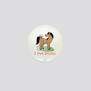 Cute horse lover girls Mini Button