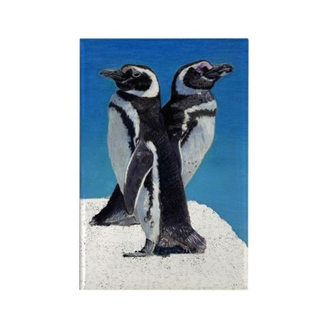 Penguins in the Snow Rectangle Magnet