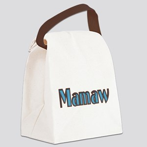 Mamaw, aqua and brown Canvas Lunch Bag