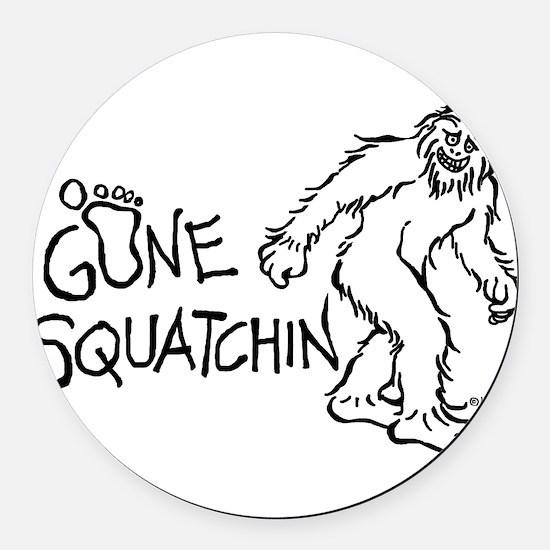 Gone Squatchin Round Car Magnet