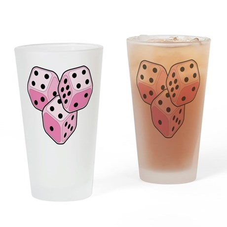 Bunco Breast Cancer Dice Drinking Glass