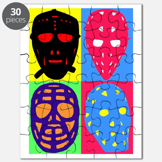 Vintage Hockey Goalie Masks Puzzle