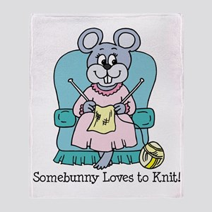 Some Bunny Loves to Knit Throw Blanket
