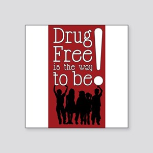 "Red Ribbon Drug Free Square Sticker 3"" x 3"""
