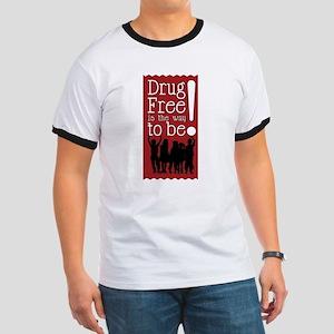 Red Ribbon Drug Free Ringer T