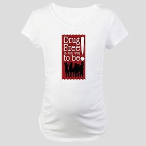 Red Ribbon Drug Free Maternity T-Shirt