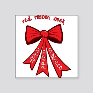 "Red Ribbon Week Square Sticker 3"" x 3"""