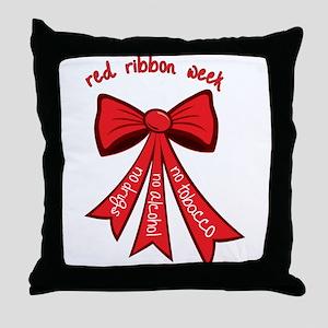 Red Ribbon Week Throw Pillow
