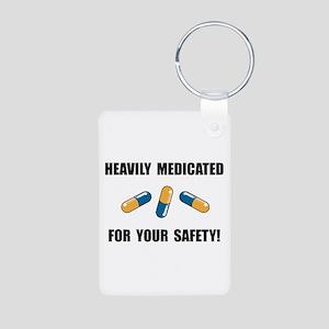 Heavily Medicated Aluminum Photo Keychain
