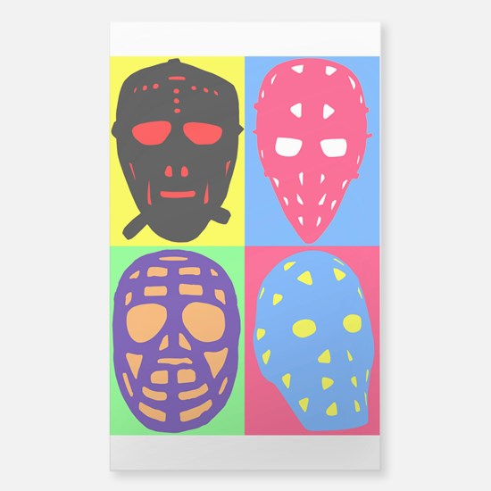 Vintage Hockey Goalie Masks Sticker (Rectangle)