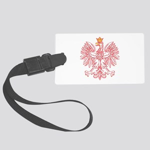 Polish Eagle Outlined In Red Large Luggage Tag