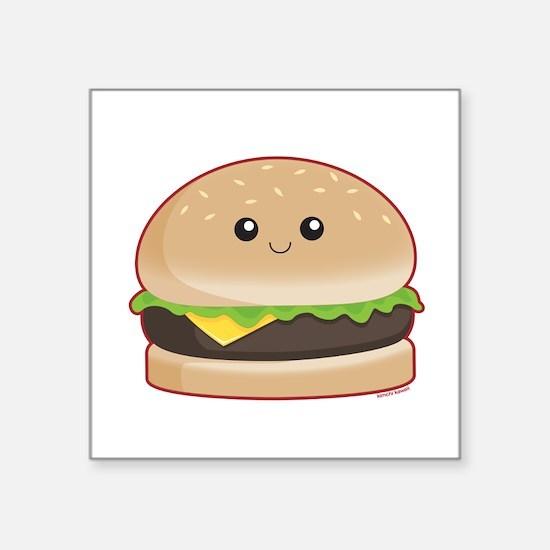 "Hamburger Square Sticker 3"" x 3"""