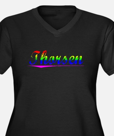 Thorsen, Rainbow, Women's Plus Size V-Neck Dark T-
