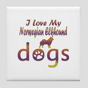 Norwegian Elkhound designs Tile Coaster